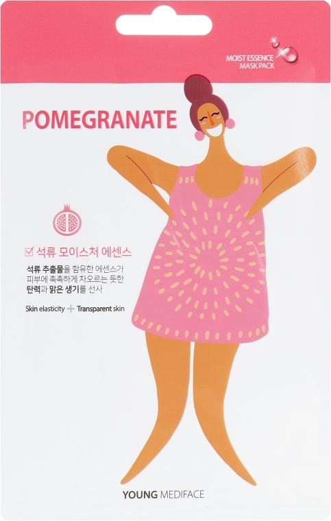 Осветляющая питательная маска для лица с экстрактом граната - Mediface Young Pomegranate Mask Pack