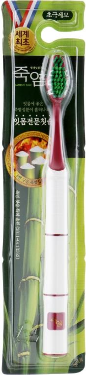 """Зубная щетка """"Бамбуковая соль"""" с двухуровневой щетиной, бордовая - LG Household & Health Perioe Soft"""