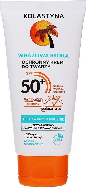Защитный крем для лица для чувствительной кожи - Kolastyna SPF50