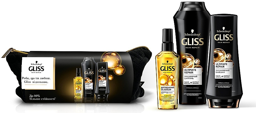 Набор - Gliss Kur Ultimate Repair (shm/250ml + balm/200ml + oil/75ml + bag)