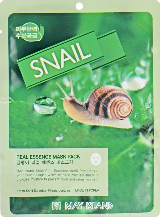 Тканевая маска для лица с муцином улитки - May Island Real Essence Snail Mask Pack