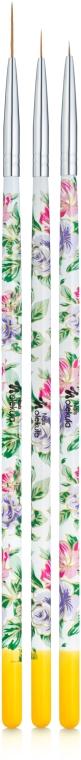 Набор кистей для росписи вензелей и тонких линий, белый с цветами - Nails Molekula