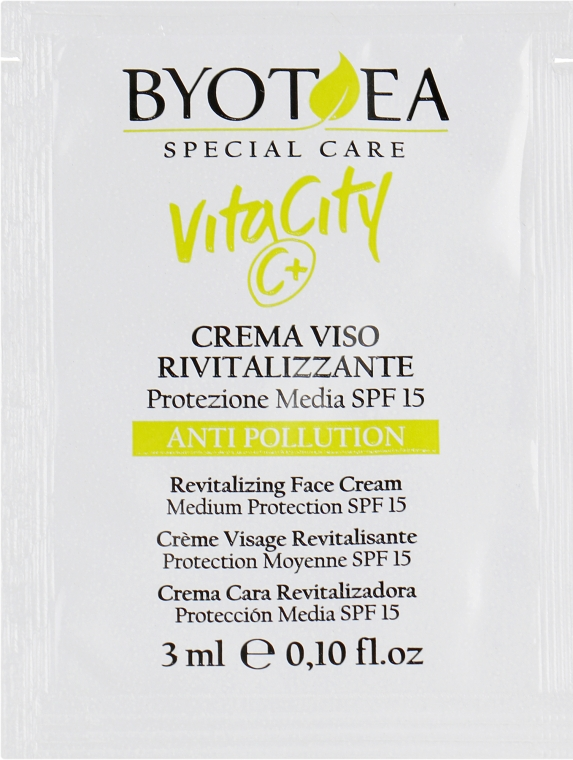 Крем для лица восстанавливающий с Витамином С и защитой SPF15 - Byothea Face Care VitaCity C+ Anti-Pollution SPF15 (пробник)