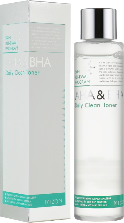 Очищающий тонер для лица с кислотами - Mizon AHA & BHA Daily Clean Toner