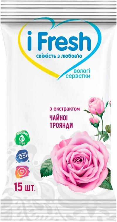 Влажные салфетки с экстрактом цветов розы - IFresh