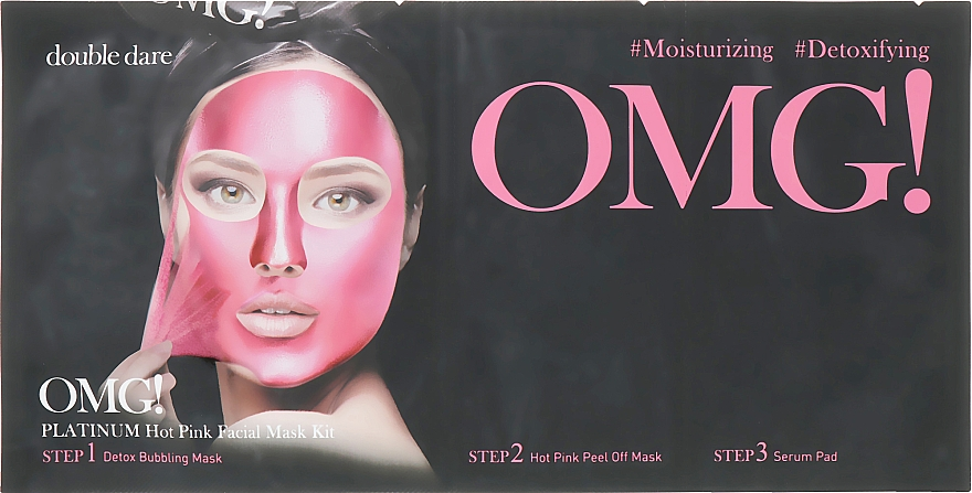 """Комплекс масок трехкомпонентный """"Сияние и ровный тон"""" - Double Dare OMG! Platinum Hot Pink Facial Mask Kit"""
