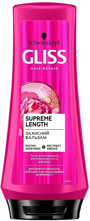 Защитный бальзам для длинных волос, склонных к повреждениям и жирности - Gliss Kur Hair Repair Supreme Length Conditioner