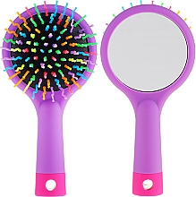 Духи, Парфюмерия, косметика Щетка для волос с зеркальцем, фиолетовая - Twish Handy Hair Brush with Mirror Lavender Floral