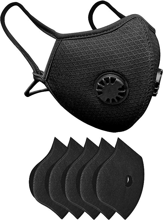 Набор: маска-респиратор многоразовая с двумя клапанами и 5 защитных фильтров, черная - XoKo