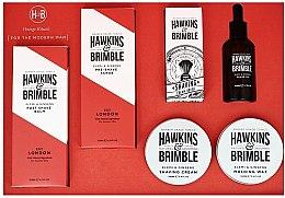 Духи, Парфюмерия, косметика Набор - Hawkins & Brimble Set (scr/125ml+asb/125ml+br/oil/50ml+sh/cr/100ml+wax/100ml+sh/brush)