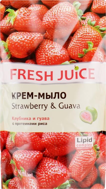 """Крем-мыло с увлажняющим рисовым молочком """"Клубника и гуава"""" - Fresh Juice Strawberry&Guava (сменный блок)"""