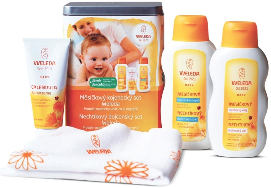 Набор - Weleda Baby Calendula Set (b/cr/75ml+b/milk/200ml+b/oil/200ml)