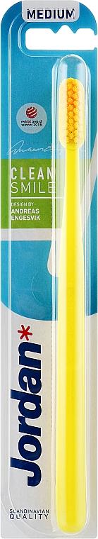 Зубная щетка Clean Smile (medium), желтая - Jordan