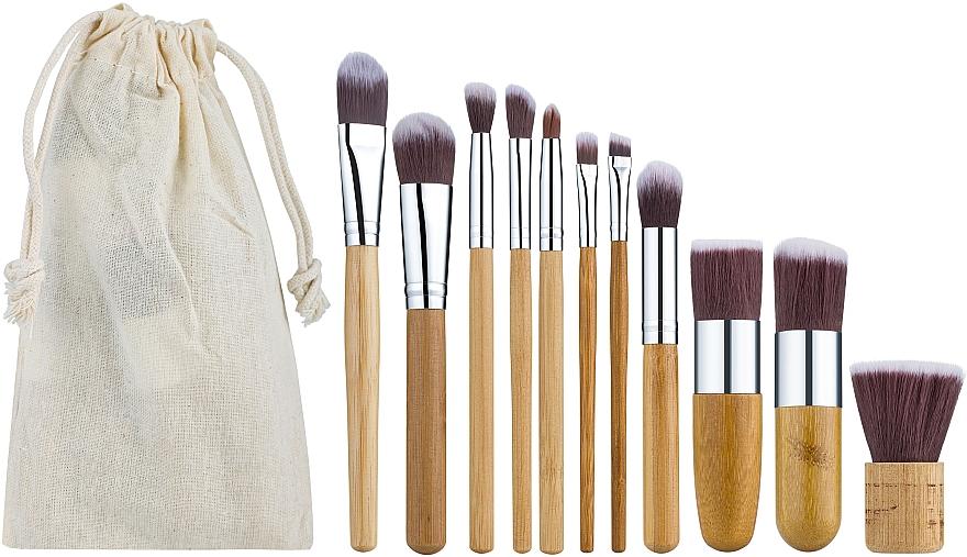 Профессиональный эко-набор бамбуковых кистей для макияжа 11 шт в холщовом мешочке - King Rose
