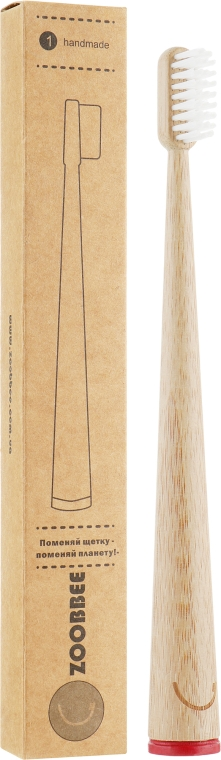 Бамбуковая зубная щетка, красная - Zoobbee Toothbrush