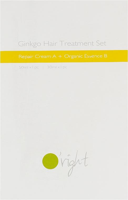 Набор для восстановления поврежденных и окрашенных волос - O'right Ginkgo Hair Treatment Set (cr/50ml + ess/30ml)