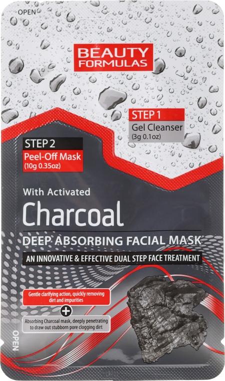 Маска-пленка для лица с углем - Beauty Formulas Charcoal Absorbing Face Mask