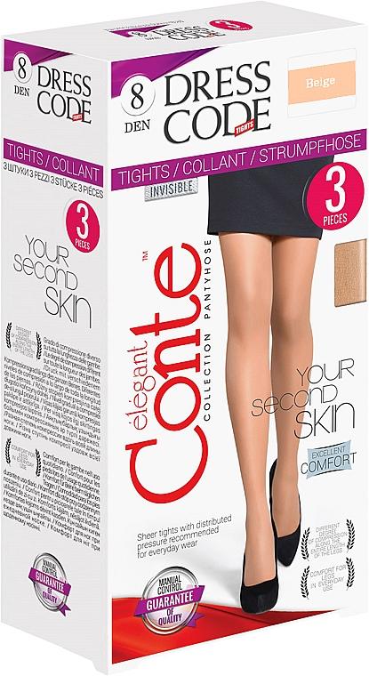 "Колготки ""Dress Code"" 8 Den, 3 шт, beige - Conte"