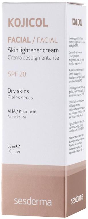 Освітлюючий крем з СЗФ 20 - SesDerma Laboratories Kojicol Skin Lightener Cream SPF 20 — фото N4