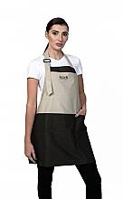 Духи, Парфюмерия, косметика Короткий фартук, бежевый с коричневыми вставками, черный логотип - Kodi Professional