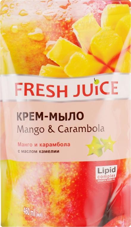 """Крем-мыло с маслом камелии """"Манго и карамбола"""" - Fresh Juice Mango & Carambol (сменный блок)"""