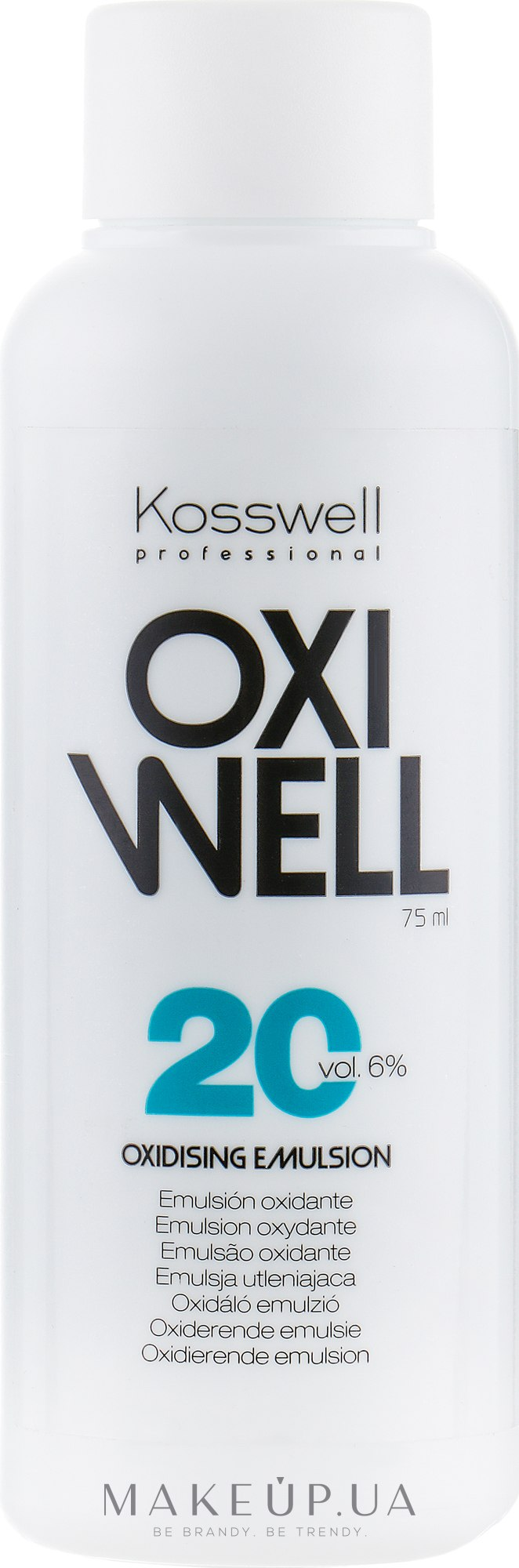 Окислительная эмульсия, 6% - Kosswell Professional Equium Oxidizing Emulsion Oxiwell 6% 20 vol — фото 75ml