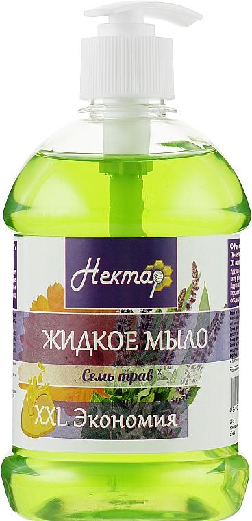 """Жидкое мыло с дозатором """"Семь трав"""" - Aqua Cosmetics Нектар"""