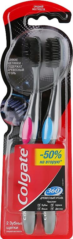 Многофункциональная зубная щетка с древесным углем, средней жесткости, розовая+голубая - Colgate 360