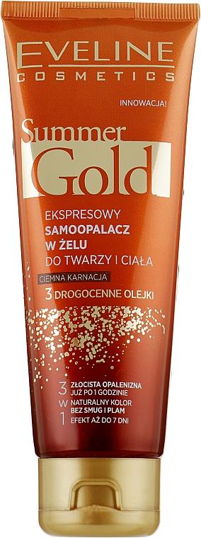 Гель-автозагар для лица и тела, темный - Eveline Cosmetics Summer Gold 3in1 Gel Dark