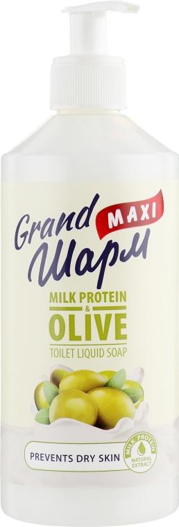 "Мыло жидкое ""Молочный протеин и олива"" - Grand Шарм Maxi Milk Protein & Olive Toilet Liquid Soap"