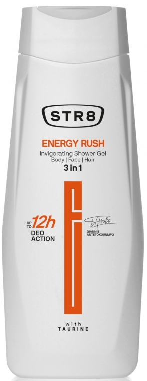 Гель для душа 3 в 1 - STR8 Energy Rush Invigorating Shower Gel 3 in 1 — фото N1