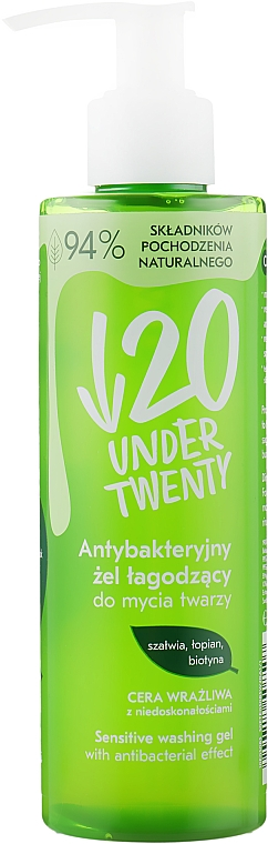 Антибактериальный гель для умывания - Under Twenty Anti Acne Sensetive Washing Gel With Antibacterial Effect