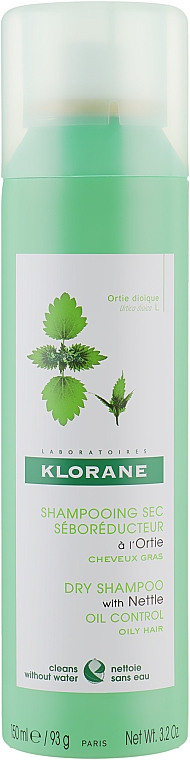 Сухой шампунь с Крапивой - Klorane Nettle Sebo-Regulating Dry Shampoo for Oily Hair