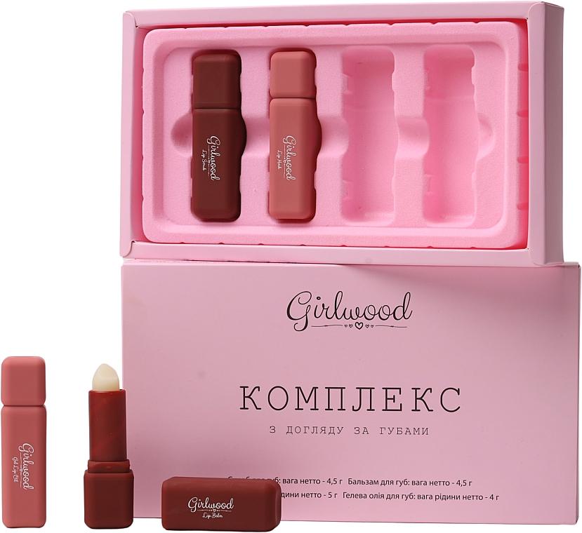 Набор - Girlwood Lip Care Set (l/scr/4.5g + l/balp/4.5g + l/mask/5g + l/oil/4g)