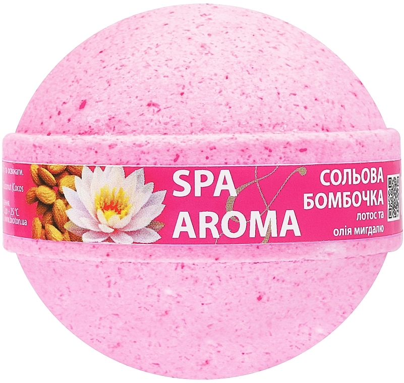 "Солевая бомбочка для ванн ""Лотос и масло миндаля"" - Bioton Cosmetics Spa & Aroma Bath Bomb"