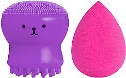 Духи, Парфюмерия, косметика Набор спонжей для макияжа и умывания, 2 в 1, PF-51, фиолетовый+малиновый - Puffic Fashion