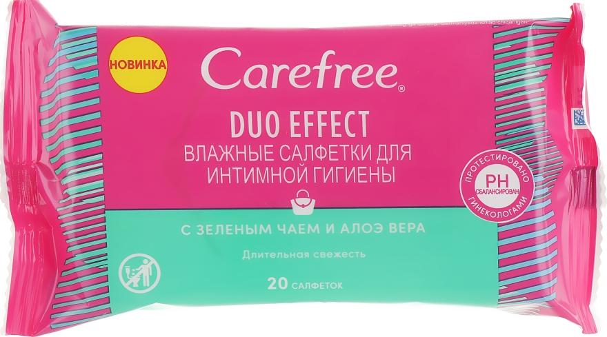 Влажные салфетки для интимной гигиены с зеленым чаем и алоэ вера - Carefree Duo Effect