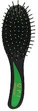 Духи, Парфюмерия, косметика Расческа массажная, РМ-8581, черная с зеленой ручкой 21 см - QPI