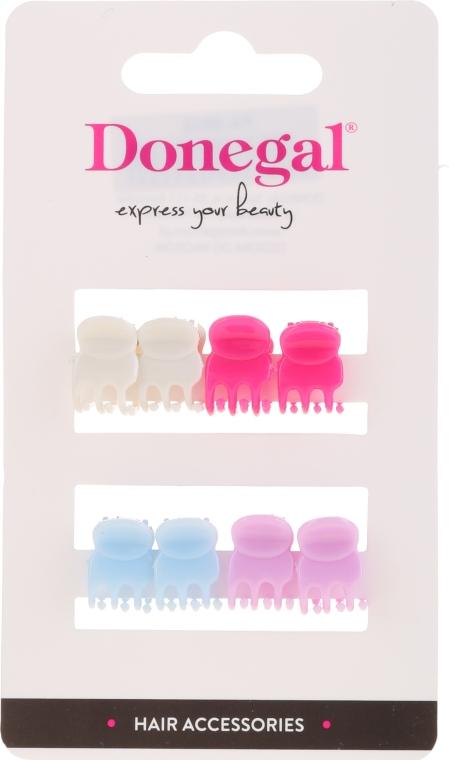 Заколки-краб для волос FA-9917, Mini Mix, разноцветные, 8 шт - Donegal Hair Clip