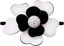 Духи, Парфюмерия, косметика Резинка для волос 507, черная с цветком - Moliabal Milano Black White Diamond Flower