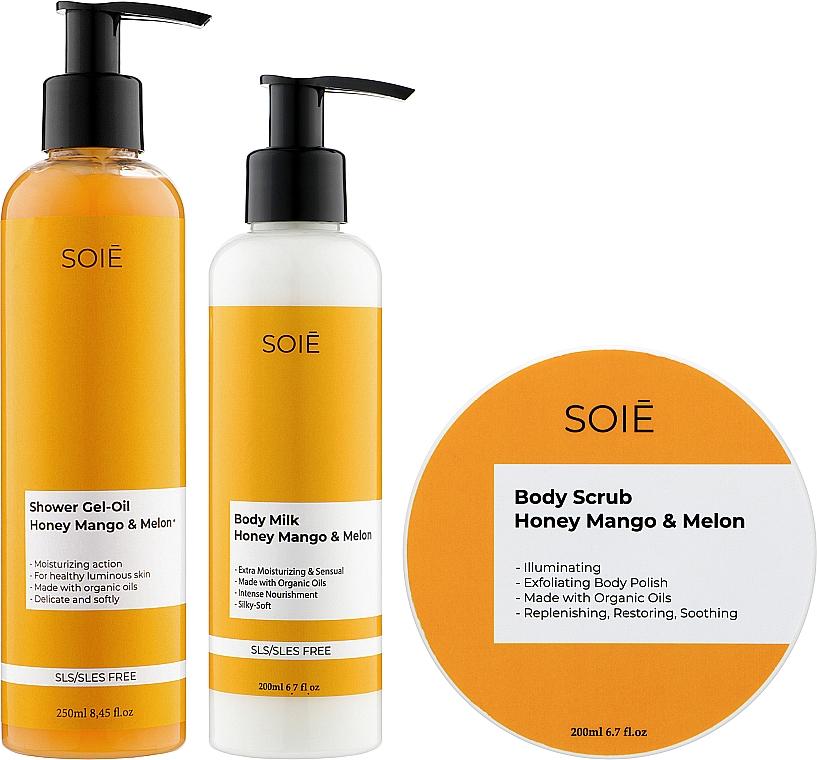 Набор - Soie Honey Mango & Melon M (show/gel/250ml + b/scrub/200ml + milk/200ml)