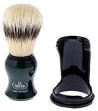 Помазок для бритья 80265 на подставке, зеленый - Omega — фото N1