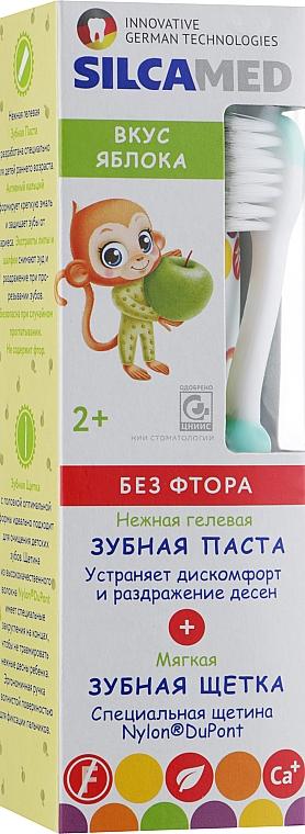 """Детская зубная щетка с пастой """"Яблуко"""", зеленая - Silca Med"""