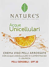 Духи, Парфюмерия, косметика Крем для чувствительной кожи лица - Nature's Acque Unicellulari Cream SPF 20 (пробник)