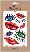Духи, Парфюмерия, косметика Акварельные переводные тату - Miami Tattoos Eyes And Lips