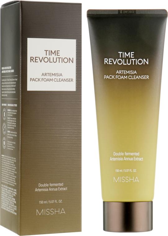 Антивозрастная маска-пенка для умывания - Missha Time Revolution Artemisia Pack Foam Cleanser