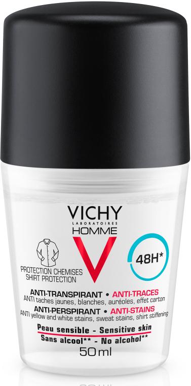 Шариковый дезодорант против белых и желтых пятен на одежде - Vichy Deo Anti-Transpirant 48H