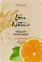Духи, Парфюмерия, косметика Обновляющая тканевая маска с апельсином и овсом - Oriflame Love Nature