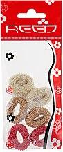 Духи, Парфюмерия, косметика Набор резинок для волос, 7576, 6шт, бежевый + коричневый + бордовый - Reed