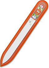 Духи, Парфюмерия, косметика Пилка для ногтей стеклянная, 115мм, двусторонняя, оранжевый чехол - Bohemia Czech Glass Nail Files